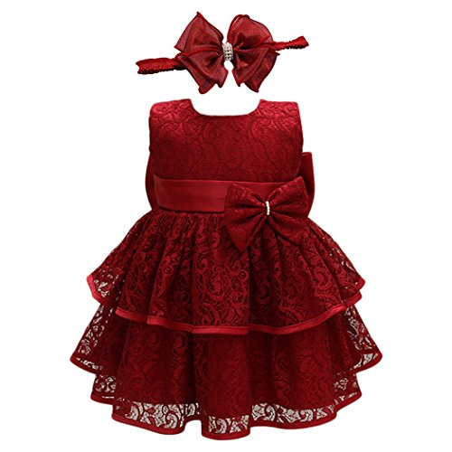 Glamulice Baby Lace Party Dress Christening Baptism Girl Dresses (12M / 12-15 Months, Red-2pcs)