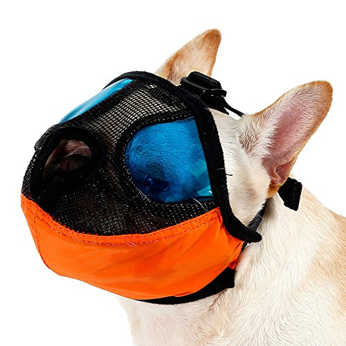 ZOOPOLR Dog Muzzle for Short Nose Flat Faced Dogs (pug muzzle), Anti Bark Bite Dog Mouth Mask, Anti-Bitting Anti-Barking with Adjustable Buckle (L) ()