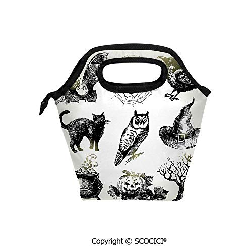(Insulation portable lunch box bag Halloween Related Pictures Drawn by Hand Raven Owl Spider Black Cat Decorative Soft Fabric lunch bag Mummy)
