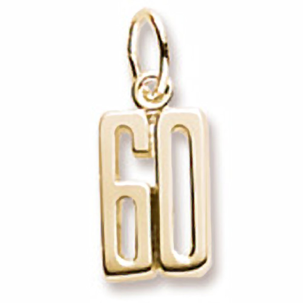 Number 60 Charm in 14k Yellow Gold, Charms for Bracelets and Necklaces by Rembrandt Charms