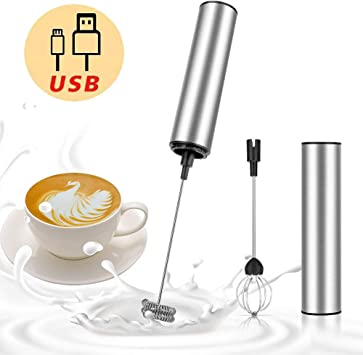 MOSUO Milk Frother Handheld Coffee Frother Electric Whisk USB Rechargeable Foam Maker Bubbler Egg Beater for Latte Cappuccino Hot Chocolate