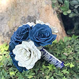 Navy Blue Book Page and Coffee Filter Paper Wedding Bouquet 23