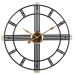 PUMERIT Wall Clock Modern Metal Big Wall Clock 23.6 Inch Handmade Silent Not-Ticking Indoor Clock for Living Room Hotel Restaurant Decoration