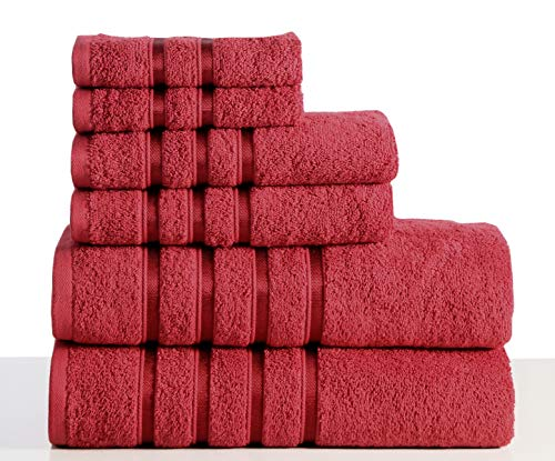 Wicker Park 550 GSM Ultra Soft Luxurious 6-Piece Towel Set (Ruby Red): 2 Bath Towels, 2 Hand Towels, 2 Washcloths, Long-Staple Combed Cotton, Spa Hotel Quality, Super Absorbent, Machine Washable