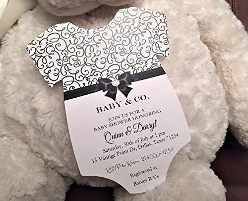 Set of 10 Black and White Elegant Baby S - Elegant Baby Shower Invitations Shopping Results
