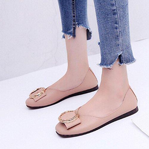 OverDoseBüro Frauen Flache Fische Mund Low Heel Schuhe Spitz Mokassins Schuhe Freizeit Schuhe Halbschuhe Pink