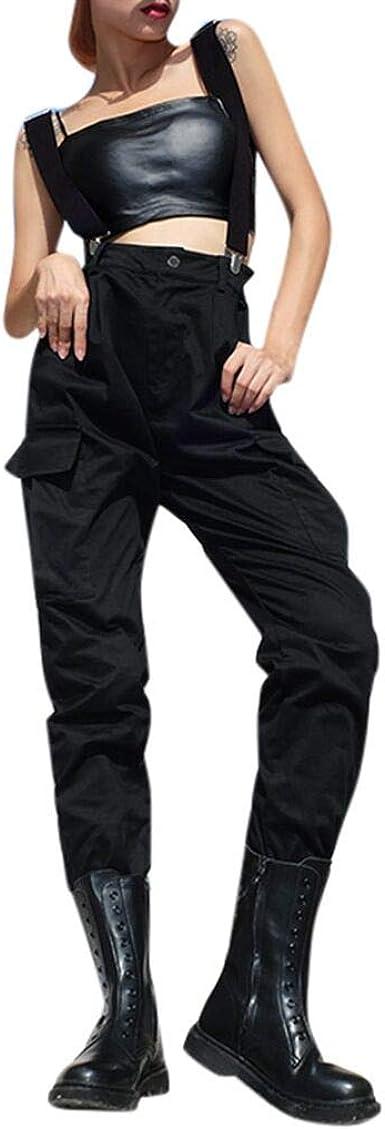 Geilisungren Mono Recto Estilo Safari Para Mujer Punk Gotico Bolsillos Solidos Overoles Petos Pantalones Amazon Es Ropa Y Accesorios
