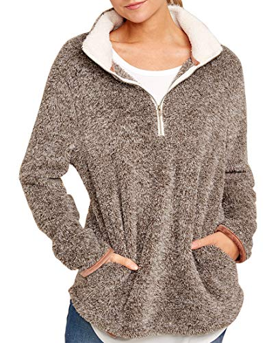 MIROL Women's Casual Fall Long Sleeve Zipper Pullover Kangoroo Fuzzy Sherpa Fleece Sweatshirts Tops Outwear Pockets ()