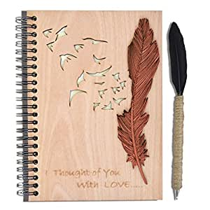 Giftgarden Personalized A5 Papers Spiral Notebooks and Handmade Feather Quill Ballpoint Pen