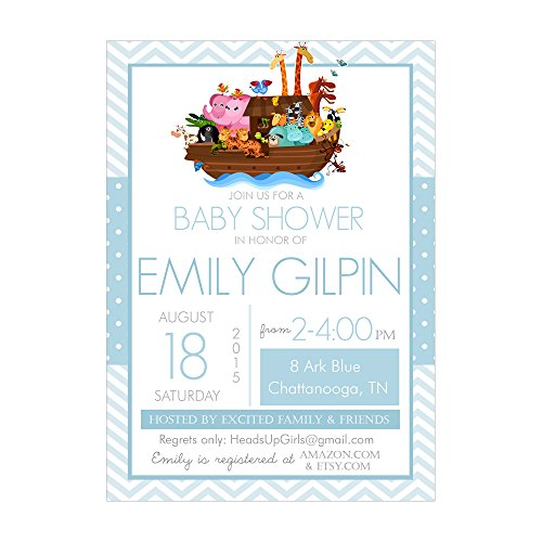 Set of 12 Customizable Personalized Baby Shower Invitations and Envelopes with Noahs Ark in Blue NV074