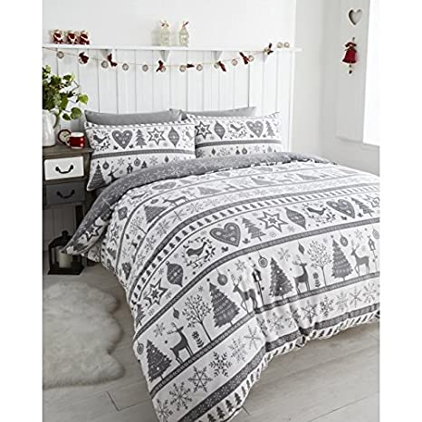 Traditional Christmas Duvet Cover Bedding Set Santa Reindeer Noel Home Bedding