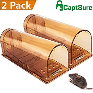CaptSure Humane Smart Mouse Trap, Live Catch and Release Rodent Trap, No Kill, No Pain, Safe around Children & Pet, For Indoor / Outdoor, Best Small Mice Catcher That Works Simple Easy Set (2 Pack)