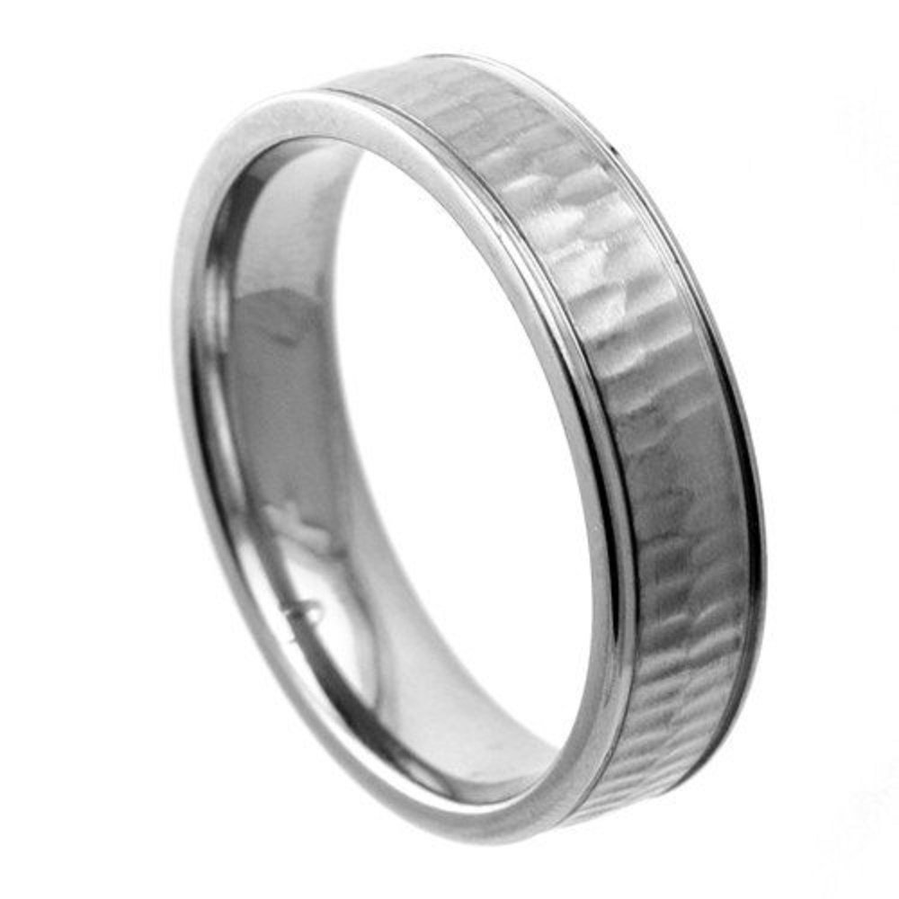 Titanium Wedding Engagement Jewelry Band Ring with Textured Surface 6mm Width GranTodo