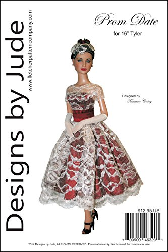 """Prom Date Printed Sewing Pattern for 16"""" Tyler Wentworth Dolls Tonner"""