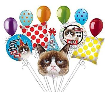 Jeckaroonie Balloons 11 Globos de Gato gruñón, Ramo de ...