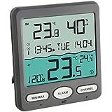 TFA Dostmann Thermomètre de piscine Venise 30,3056,10, pour surveillance de la température de l'eau dans une piscine, bassin ou piscine, gris