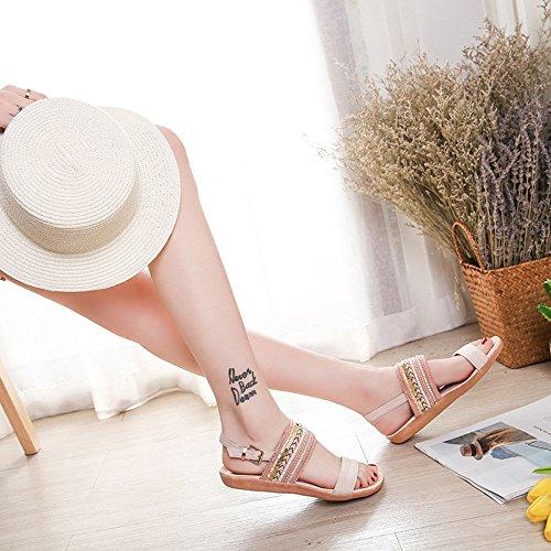 BUIMIN - Zapatillas De Mujer Bohemia Chanclas Sandalias Planas Toe Zapatos De Tobillo Playa Gladiador D