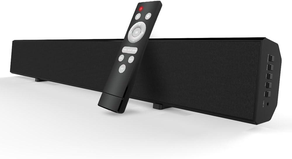 Barras de Sonido para TV Mighty Rock Barra de Sonido Bluetooth Sonido Envolvente Bluetooth inalámbrico y con Cable para TV Barra de Sonido Incluye Cable óptico, Cable RCA y Control Remoto