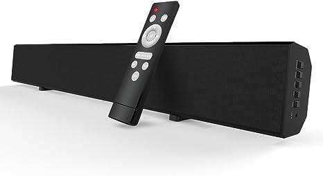 Barras de Sonido para TV Mighty Rock Barra de Sonido Bluetooth Sonido Envolvente Bluetooth inalámbrico y con Cable para TV Barra de Sonido Incluye Cable óptico, Cable RCA y Control Remoto: Amazon.es: