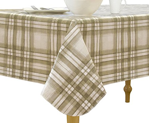 "Elrene Home Fashions Vinyl Tablecloth with Polyester Flannel Backing Country Plaid Easy Care Spillproof, 70"" RD BBQ, Taupe"