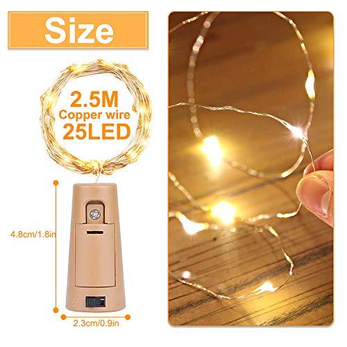 Luz de Botella (10 Pack),2.5m 25 LED Lámparas de Botellas con Alambre de Cobre,luz de Botella,Blanco Cálido Luces de Botella de Vino para bricolaje Navidad,Halloween,Entorno Romántico en Boda,Fiestas