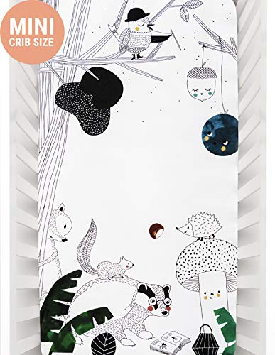 Mini Crib Sheets by Rookie Humans: 100% Cotton Sateen. Complements Modern Nursery Room, Use as a Photo Background for Your Baby Pictures. Fits Mini Crib Size (38x24 inches) (Woodland Dreams)
