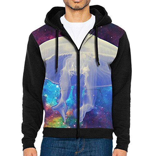 RUND-25 Sea White Jellyfish Gentleman Sports Hoodies Sport Outwear Pocket Zipper With Kangaroo Pocket Coat (Spot-runde)
