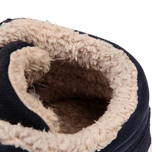 Foderato Caldo Pelliccia Nero Scamosciata Piatto da Unisex Donna Blu Scarpe Uomo Scarpe per Nero Sneakers Inverno Laces Moda Esterno Stivaletti HpqYfIX