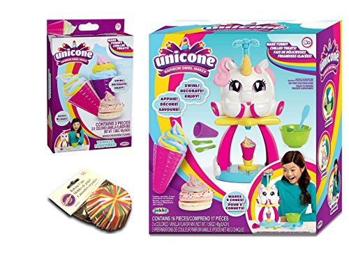 Unicone Rainbow Swirl Maker Activity Play Set Bundle with Unicone Rainbow Swirl Maker Refill Pack & Wilton Baking Cups by Unicone & Wilton
