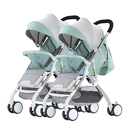 Double Stroller, Twin Tandem Baby Stroller with Adjustable Backrest, Footrest, Foldable Design for Easy Transportation