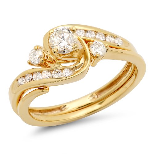 - Dazzlingrock Collection 0.50 Carat (ctw) 18k Round Diamond Ladies Swirl Bridal Engagement Ring Matching Band Set 1/2 CT, Yellow Gold, Size 5