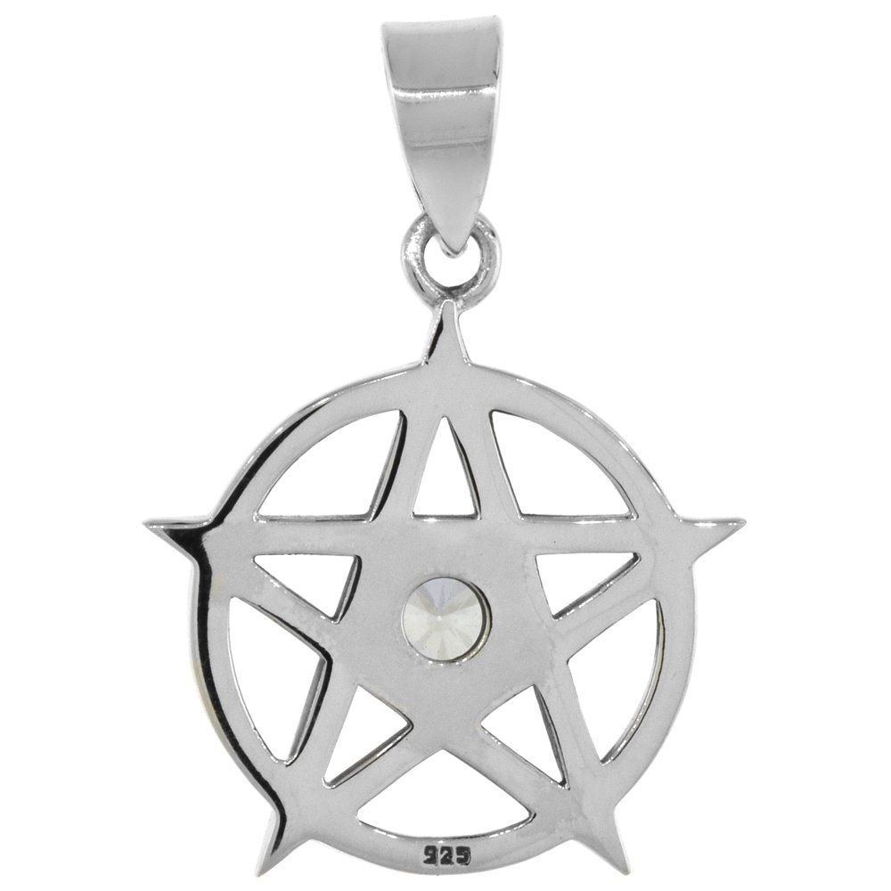 Sterling Silver Pentagram Necklace Clear CZ, 3 4 inch tall