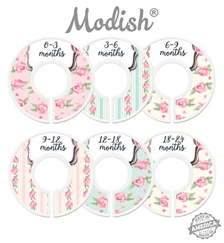 (Modish Labels Baby Nursery Closet Dividers, Closet Organizers, Nursery Decor, Baby Girl, Flowers, Roses, Pink, Mint, Shabby Chic )