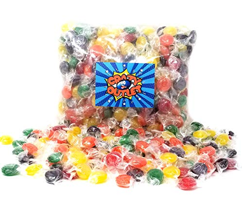 CrazyOutlet Pack - Primrose Hard Candy Buttons Assorted Fruit Flavored, Individually Wrapped, 3 lbs - Flavored Hard Candy
