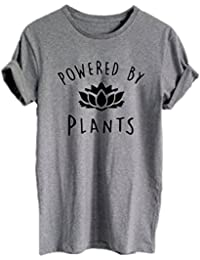 Vegan Animal Lover Women's T-Shirts Powered by Plants Graphic Tees