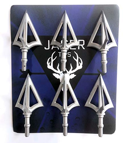 JAGER Best Value Broadhead Arrow Tips 6pcs Set! Stainless Steel Archery Set