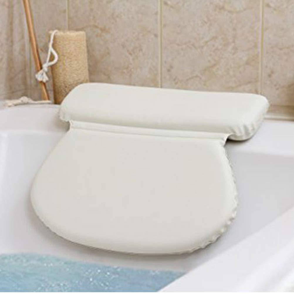 TOPBATHY PU Sponge Bathtub Pillow Bath Shoulder Back Rest Cushion Suction Bath spa headrest for Bathroom White
