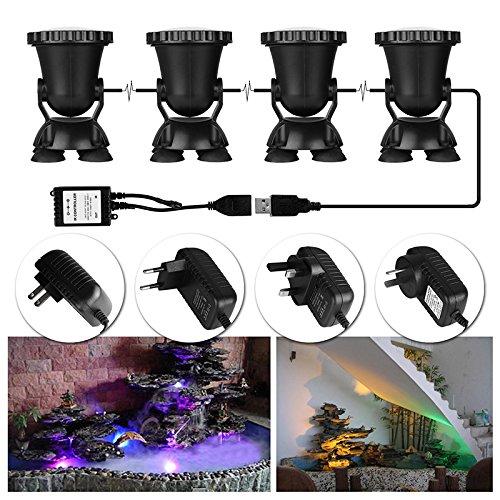 ALLOMN 4pcs Remote Control RGB 36-LED Underwater Projector Spotlight Submarine Light IP68 Waterproof for Garden Landscape Park Rockery Pool Pond Corridor Fish Tank Aquarium