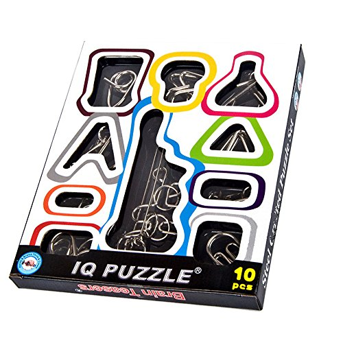 (HLJgift IQ Test Toys Mind Game Brain Teaser Metal Wire Puzzles for Kids Adults Set of)