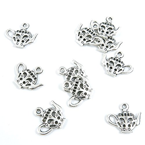 - 470 Pieces Antique Silver Jewelry Making Supply Charms Findings H5GK2 Teapot Tea Kettle Pot