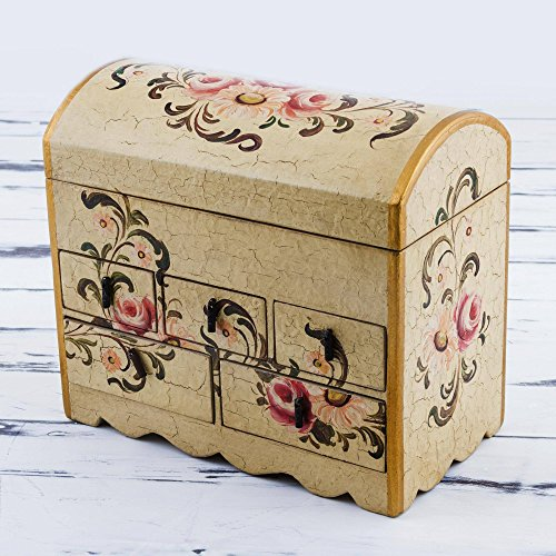 NOVICA Handcrafted White and Pink Mini Chest of Drawers Floral Wood Jewelry Box, Rose Bouquet' by NOVICA (Image #5)