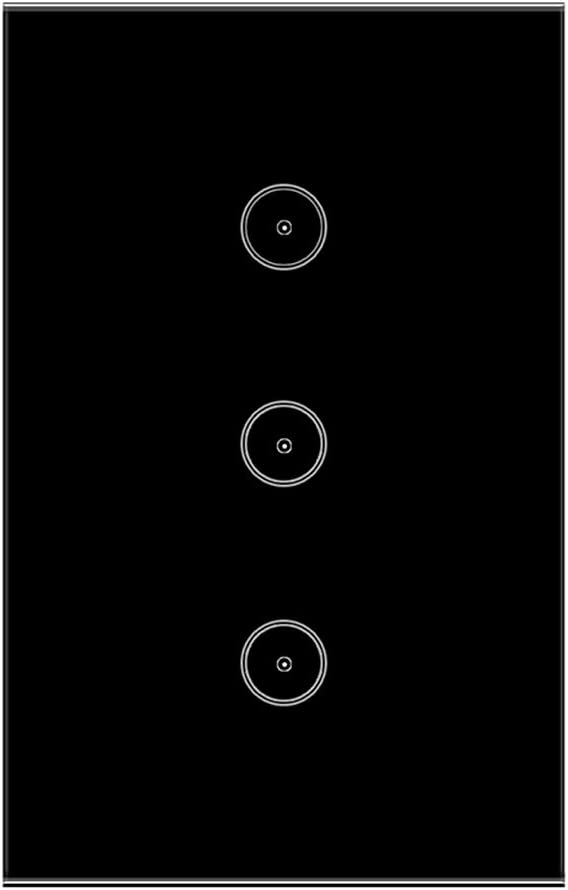 Jinvoo WiFi Wall Light Touch Panel Switch, Remote Control with Smart Phone,No Hub Required, AC 120V, Compatiable with Alexa Echo, Works with Google Home (3gang-Black)