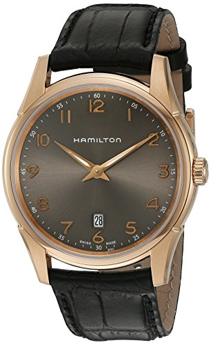 Hamilton Men's 'Jazzmaster' Swiss Quartz Gold and Leather Watch, Color:Black (Model: H38541783)