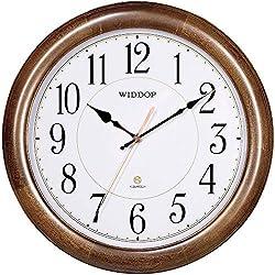 TXL Solid Wood 12-Inch Round Classic Clock Retro Non Ticking Quartz Decorative Wall Clock, G10473