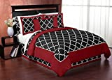 Sweet Jojo Designs 3-Piece Red and Black Trellis Full / Queen Boy or Girl Bedding Set Collection