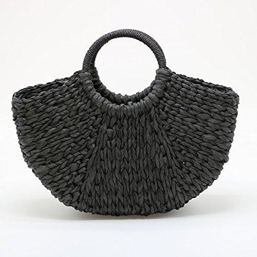 Black mimbre para mujeres ronda bolsa paja tejida mango tejida verano bolsa playa Artesanal de bolso 6pqTB