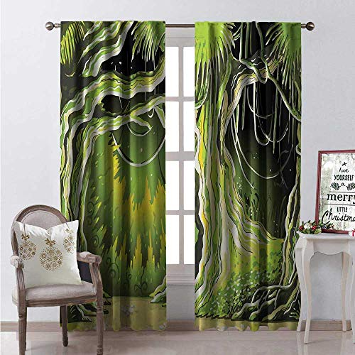 Hengshu Neverland Room Darkening Wide Curtains Magic Forest Fairy Tree in The Woodland Halloween Nature Landscape Waterproof Window Curtain W72 x L108 Olive and Lime Green]()