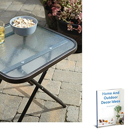 Patio side end table lawn garden square foldable metal for Small glass top coffee table