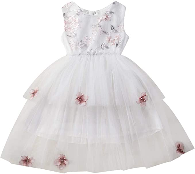 Vestido de princesa de verano para niña, tutú de tul con flores ...
