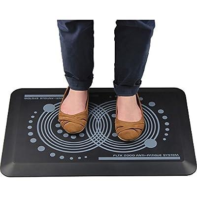 """Floortex AFS-TEX System 2000 Anti-Fatigue Mat 20"""" x 32"""" Midnight Black"""